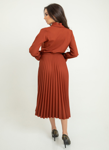 Foremia Atlas Piliseli Ceket Yaka Elbise Uzun Kol Kiremit